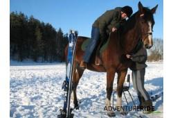 Skijorings aiz zirga Ādažos